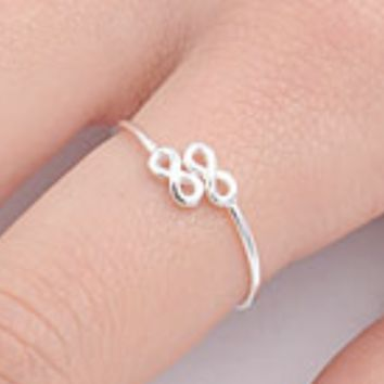 .925 Sterling Silver Tiny Infinity Ring Ladies and Kids Size 3-10 Adjustable Midi Thumb Knuckle