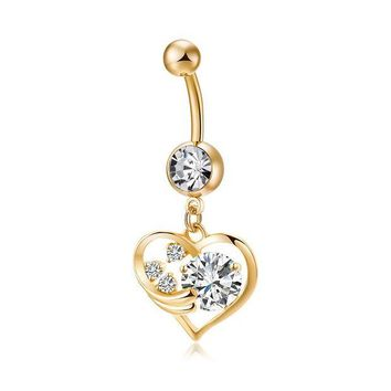ac DCCKO2Q Fashion Love Heart belly button rings Bar Gold Color Surgical Metal Piercing Sexy Body Jewelry for women CZ navel piercing rings