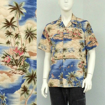 Vintage 90s RJC Blue Hawaiian Shirt, Floral Shirt, Aloha Shirt, Tropical Shirt, Summer Shirt, Resort Wear, Beach Shirt, Retro Shirt Size L