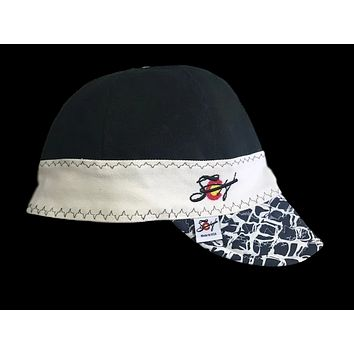 Black/White Unique Embroidered Lined Size 7 Canvas Welding Cap