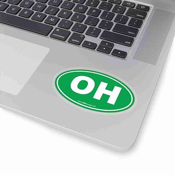 Ohio OH Euro Oval Sticker SOLID GREEN