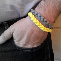 2 gray and yellow mens bracelets. Fabric braided bracelets for the summer and the beach. Surfer bracelet. Gift for him.