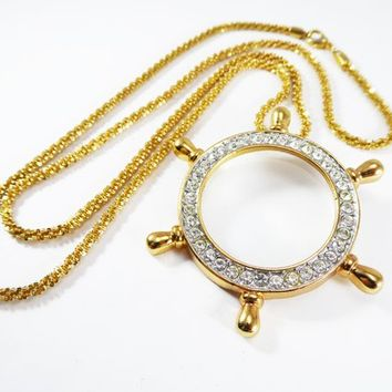 Large Chunky Ships Wheel Magnifying Glass Pendant Necklace, Gold Tone with Clear Rhinestones and Gold Tone Chain, Vintage 1980s 1990s gift