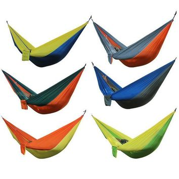 ESBON5U Portable Outdoor Hammock 2 Person Camping Hiking Travel Kits Garden Leisure Hammock 6 Colors Parachute Hammocks