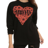 Nirvana Poppy Heart Girls Pullover Top