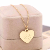 Hot Creative love Heart Paw Claw of Dog Kitty Cat Pendant Necklace jewelry lovers Best Valentine's Day & Christmas Gift Women