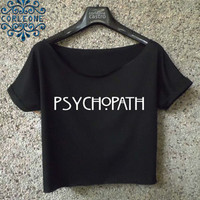 psychopath logo shirt american horror story crop top black and white cropped tee