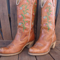 Hand Painted Wolverine Brand Cowboy Boots Floral Design Womens Size 8