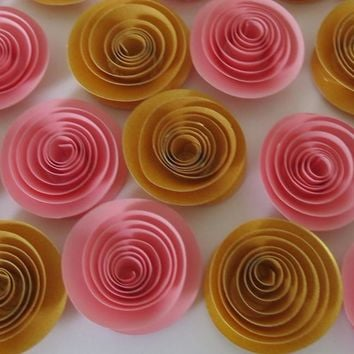 "Pink & Gold roses, package set of 12, girl nursery decor, 1.5"" flowers, bridal shower decorations, new baby adoption gift idea, fertility clinic decor"
