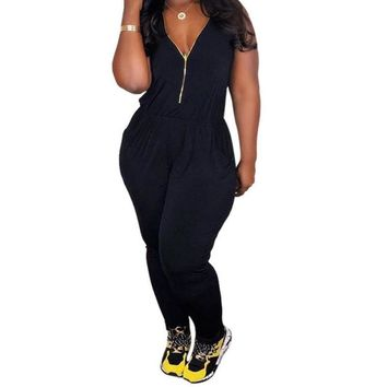 Women Casual Sleeveless Deep V Neck Jumpsuit Summer Rompers Plus Size XS XL