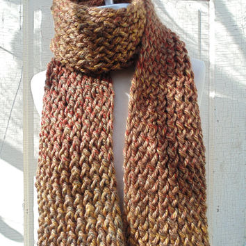 Earthy Autumn Colors Chunky Knit Scarf