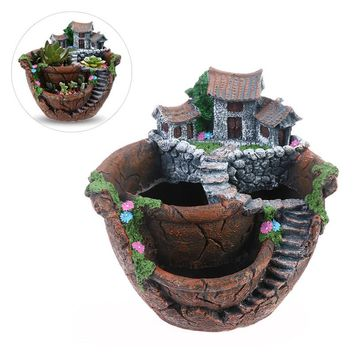 Micro Landscape Artificial Flowers Succulent Plants Pot Tiny Creative Flower Pot Holders Hanging Garden Design with Sweet House