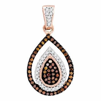10k Rose Gold Women's Red Diamond Teardrop Cluster Pendant - FREE Shipping (US/CA)