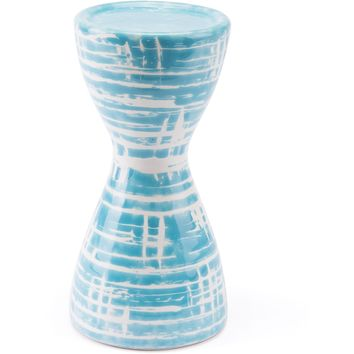 Blue & White Washed Candle Holder