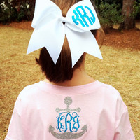 Glitter Monogrammed Comfort Colors Tee Shirt, Front and Back Monogrammed Shirt, Anchor, Bow, Short sleeve Monogram Tshirt