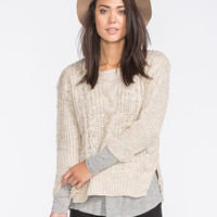 POOF EXCELLENCE Marled Cable Knit Sweater 249263412 | Boho Grunge