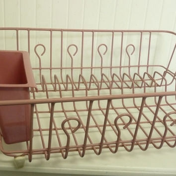 NICE Vintage Rose Pink Dish Rack with Silverware Caddy, Larger Size Dish Drain Rack, Rubber Coated Metal -  Vintage Home Decor