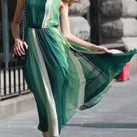 Green and White Sleeveless Bohemian Maxi Chiffon Dress