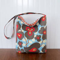 Slouch Purse - Amy Butler - Morning Glory - Red and Blue Purse - Fabric Puse - Slouch Bag