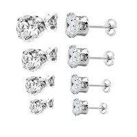 4 Pairs (3,4,5,6mm) Round Cz .925 Sterling Silver Stud Earrings
