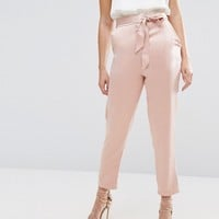 ASOS Satin Peg Pants with Split Hem and Belt at asos.com