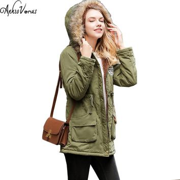 Plus Size Autumn Winter Women Coat Thick Cotton Warm Female Slim Hooded Parkas Coats Pockets Women's Jacket Winter Jacket Women