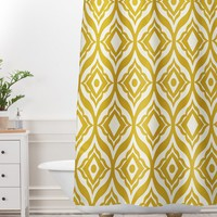 Heather Dutton Trevino Yellow Shower Curtain And Mat