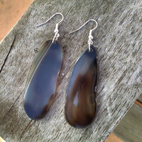 Black Agate Slab Earrings Long Black Geode Slice Earrings Boho Hippe Jewelry