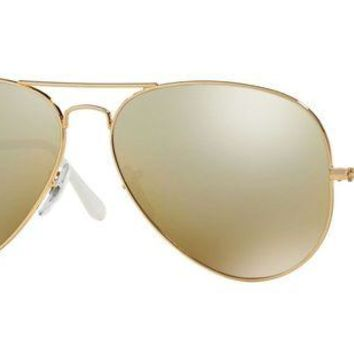Gotopfashion Ray Ban RB3025 001 3K Gold Metal Frame Brown and Silver 62mm Lens Sunglasses