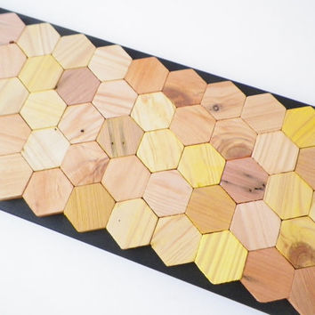 Modern wall decor, honeycomb hexagon wall hanging, geometric decor, rustic wall art, recycled wood home decor, black and natural tones art