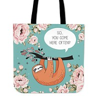 Sloth Talk Linen Tote Bag