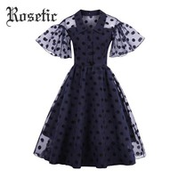 Vintage Dress Polka Dots A-Line Retro Dress Polka Dots Lolita Style Ruffle Sleeve Fashion Goth Dress
