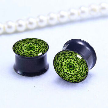 Pairs Kiwi  Krleidoscope  Plug  ,Double Flare Tunnels Ear Plugs, Black Titanium ear plugs ,0g,00g ,1/2, 9/16, 5/8, 3/4, 7/8,