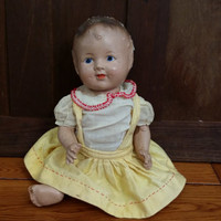 Vintage Composition Doll With Painted Face Great For The Doll Collection Creepy Decor