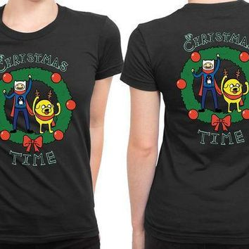 Adventure Time It Is Christmas Time 2 Sided Womens T Shirt