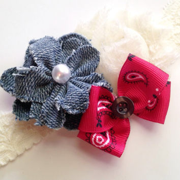 Baby Girl Headband, Flower Headband, Flower and Bow Hair Clip, Vintage Rustic Headband, Girls Lace Headband,