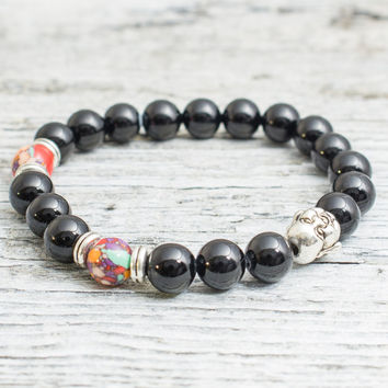 Black onyx and colorful beaded silver smiling Buddha head stretchy bracelet, mens bracelet, womens bracelet