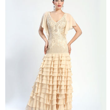 Sue Wong Fall 2014 Antique Champagne Embroidered Butterfly Sleeve Tiered Long Dress