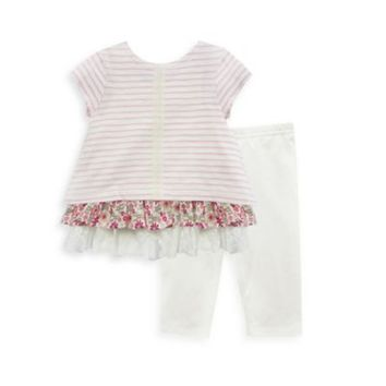 Pippa & Julie™ 2-Piece Short Sleeve Ruffled Top and Legging Set in Pink/Ivory