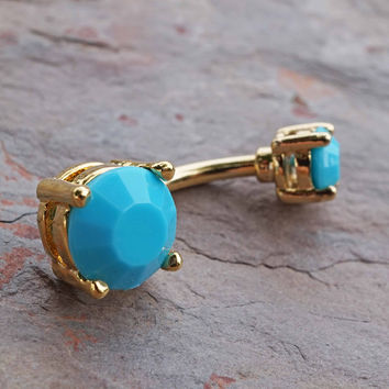 Turquoise 14kt Gold Belly Button Ring Jewelry