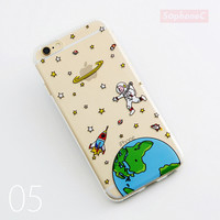 Airship Astronaut Space UFO Stars Moon Light Transperant Silicone Soft TPU Phone Cover Case for iPhone 5 5s SE 6 6s 6 Plus 6s Plus