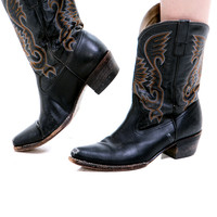 Vintage Embroidered Leather Cowboy Boots - US 9