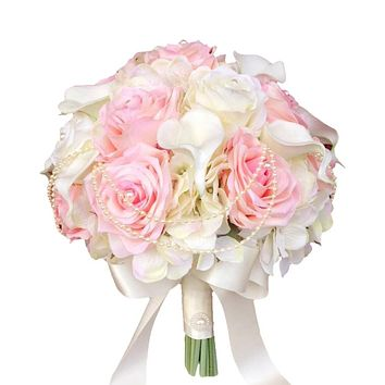 "10"" Bridal Bouquet - Romantic Light Pink Rose, Hydrangea, and Calla Lily Bouquet with Pearl String"