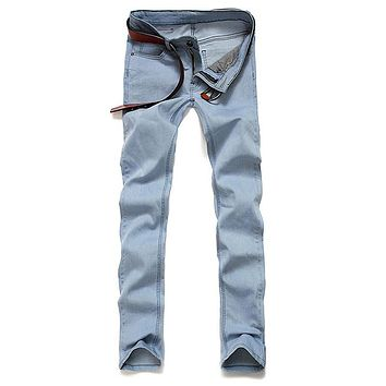 New Arrival Men's Light Blue Skinny Jeans Stretch Washed Slim Fit Straight Pencil Pants Fashion Cool Solid Color Trouser Bottom