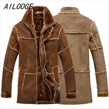 European Style Vintage Thick Warm Winter Long Leather Jacket Male Fur Coat Men Suede Jacket Men Faux Sheepskin Coat Brown Khaki
