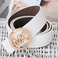 MK Fashion Women Men Personality Metal Smooth Buckle Belt Leather Belt(10-Color) White