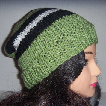 Knit striped hat moss green, black and white, Spring accessories, Womans Hat