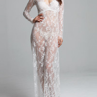 Sexy Women Fashion Gorgeous Sheer Transparent White or Black Lace Long Sleeves Deep V Neck Maxi Dress
