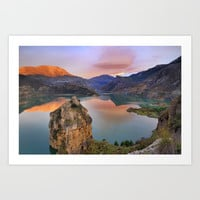 Lenticular clouds at the lake Art Print by Guido Montañés