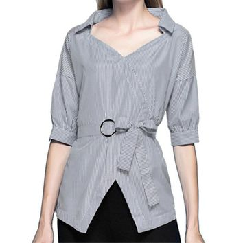 Spring Autumn Strip Shirts Women Turn-down Collar Split V Neck Lace Up Three Quarter Sexy Tunic Tops with Bow Tie Shirt
